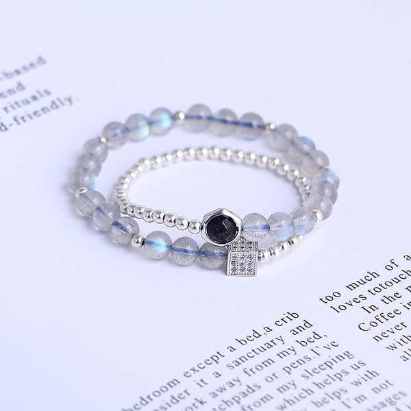 Sterling Silver Moonstone Blue sandstone Bead Bracelet Handmade Jewelry Accessories Gift Women adorable