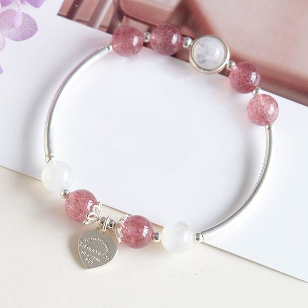 Sterling Silver Moonstone Strawberry Quartz Bead Bracelet Handmade Jewelry Women Accessories