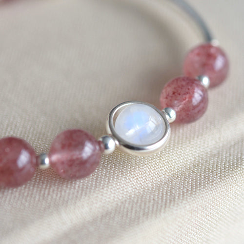 Sterling Silver Moonstone Strawberry Quartz Bead Bracelet Handmade Jewelry Women adorable