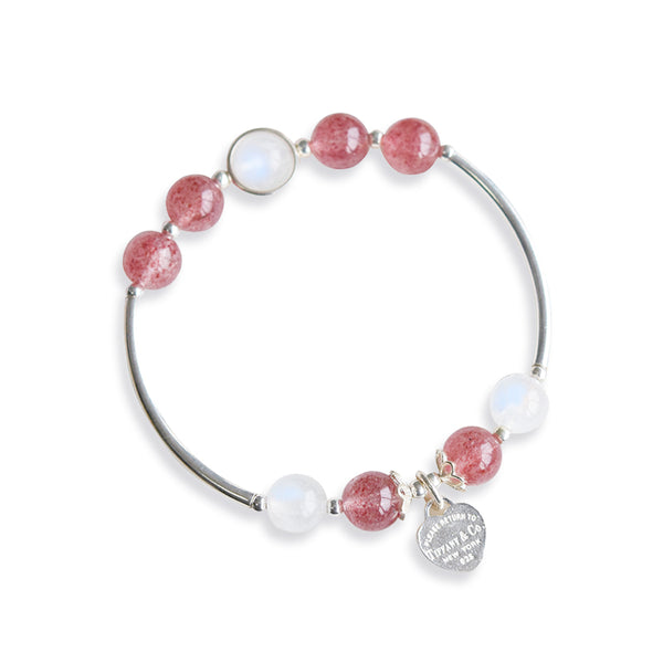 Sterling Silver Moonstone Strawberry Quartz Bead Bracelet Handmade Jewelry Women beautiful