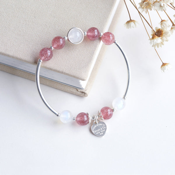 Sterling Silver Moonstone Strawberry Quartz Bead Bracelet Handmade Jewelry Women cute