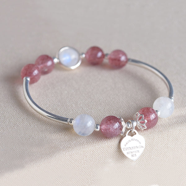 Sterling Silver Moonstone Strawberry Quartz Bead Bracelet Handmade Jewelry Women gift