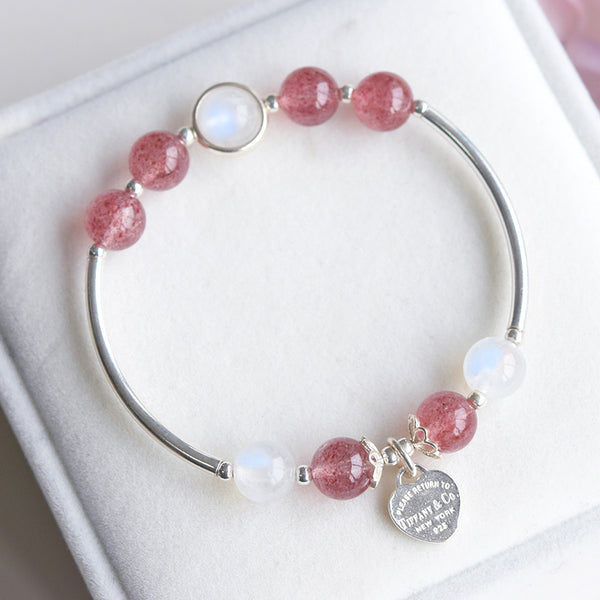 Sterling Silver Moonstone Strawberry Quartz Bead Bracelet Handmade Jewelry Women