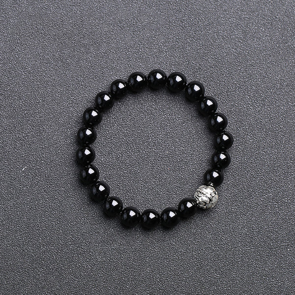 Sterling Silver Obsidian Agate Bead Bracelets Lovers Jewelry Accessories for Women Men