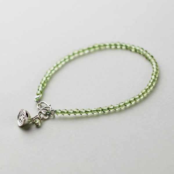 Sterling Silver Peridot Beaded Anklet Handmade Jewelry Accessories Women adorable