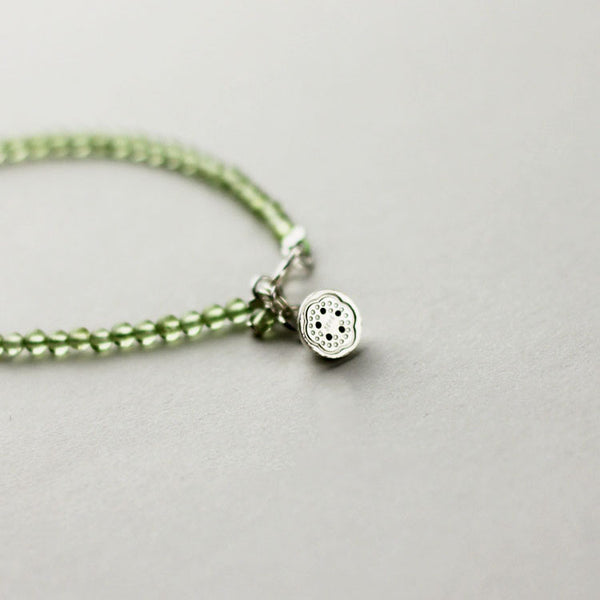 Sterling Silver Lotus Seed Peridot Beaded Anklet Handmade Jewelry Accessories Women