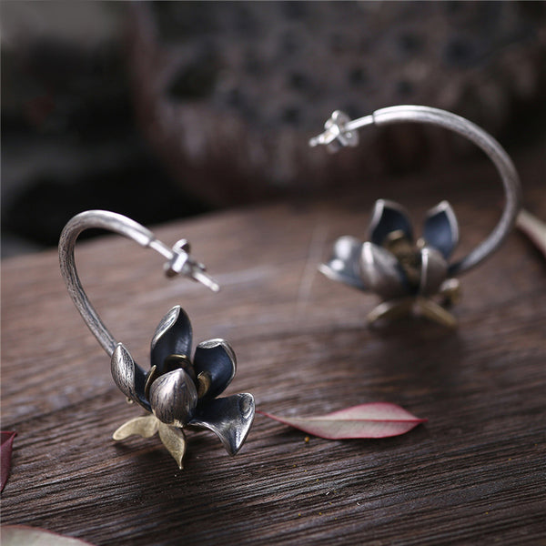 Flower Shaped Sterling Silver Stud Earrings Handmade Jewelry Gifts Accessories for Women