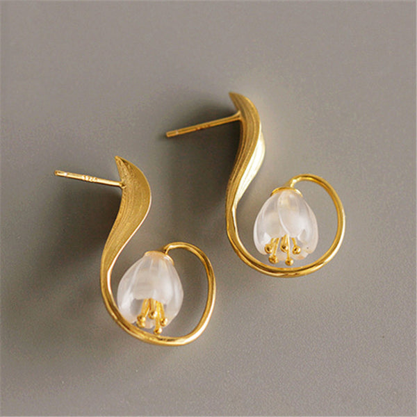 Sterling Silver White Quartz Crystal Stud Earrings Handmade Jewelry Accessories Women beautiful
