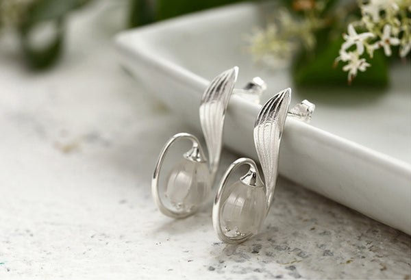 Sterling Silver White Quartz Crystal Stud Earrings Handmade Jewelry Accessories Women gift