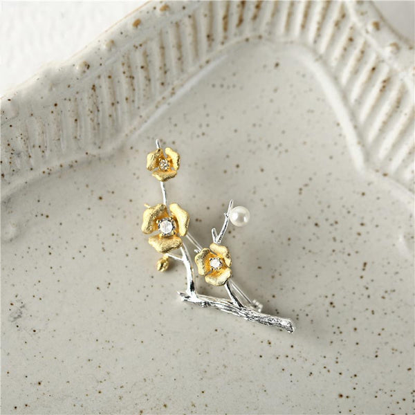 Sterling ilver Pearl Zircon Brooch women gift
