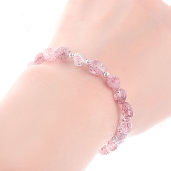 Strawberry Quartz Beaded Bracelets Handmade Crystal Jewelry Accessories Gift Women chic