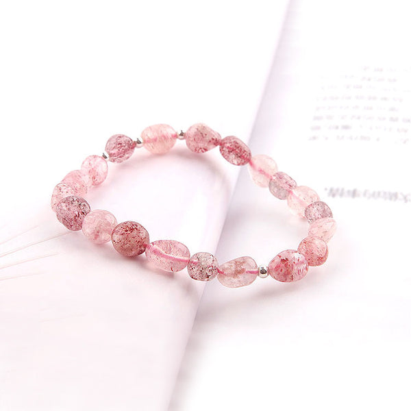 Strawberry Quartz Beaded Bracelets Handmade Crystal Jewelry Accessories Gift Women cute
