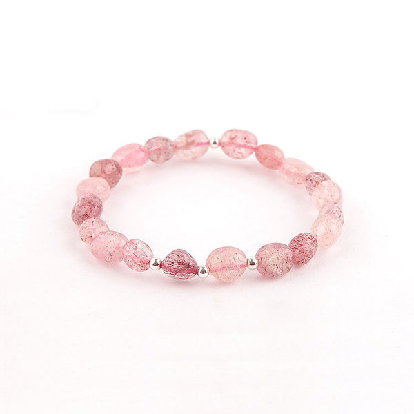Strawberry Quartz Beaded Bracelets Handmade Crystal Jewelry Accessories Gift Women fine