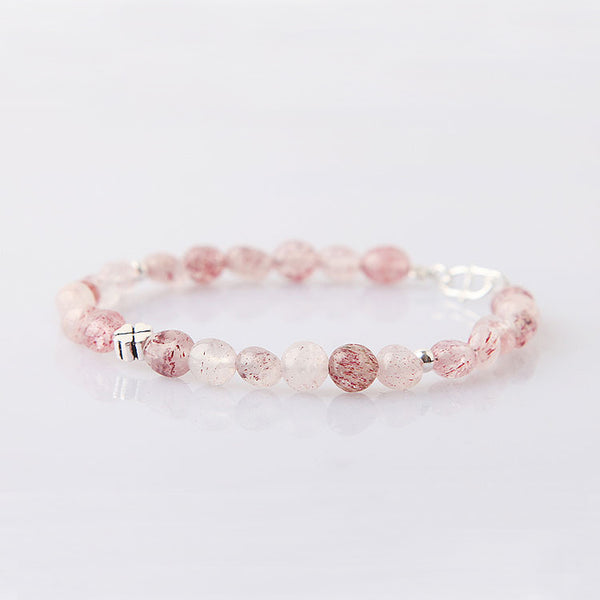 Strawberry Quartz Beaded Bracelets Handmade Gemstone Jewelry Accessories Gift for Women beautiful