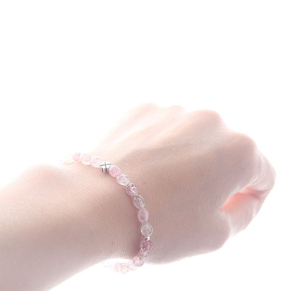Strawberry Quartz Beaded Bracelets Handmade Gemstone Jewelry Accessories Gift for Women cute