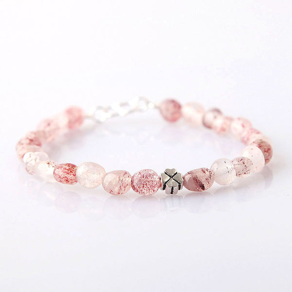 Strawberry Quartz Beaded Bracelets Handmade Gemstone Jewelry Accessories Gift for Women pink