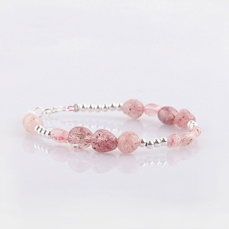 Strawberry Quartz Beaded Bracelets Handmade Gemstone Jewelry Accessories Gift Women adorable