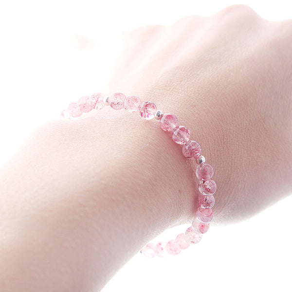Strawberry Quartz Beaded Bracelets Handmade Jewelry Accessories Gift Women adorable