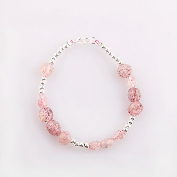 Strawberry Quartz Beaded Bracelets Handmade Gemstone Jewelry Accessories Gift Women chic