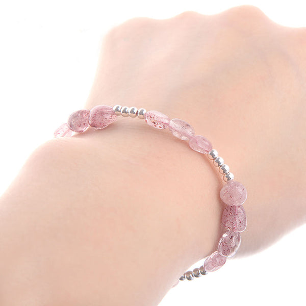 Strawberry Quartz Beaded Bracelets Handmade Gemstone Jewelry Accessories Gift Women cute