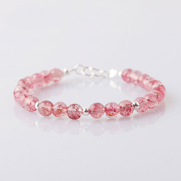 Strawberry Quartz Beaded Bracelets Handmade Jewelry Accessories Gift Women cute