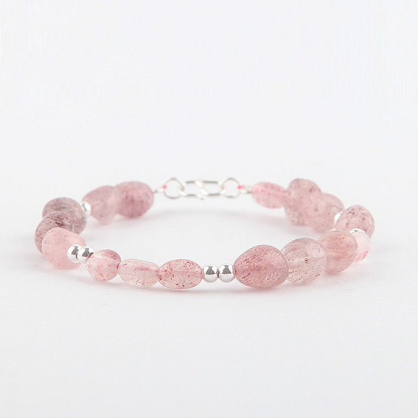 Strawberry Quartz Beaded Bracelets Handmade Gemstone Jewelry Accessories Gift for Women