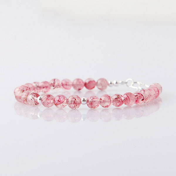 Strawberry Quartz Beaded Bracelets Handmade Jewelry Accessories Gift for Women