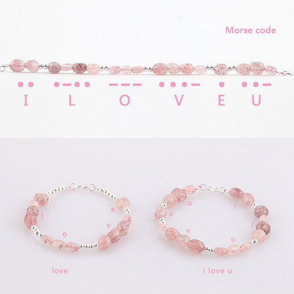 Strawberry Quartz Beaded Bracelets Handmade Gemstone Jewelry Accessories Gift Women fine