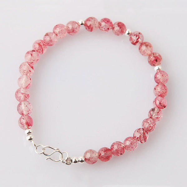 Strawberry Quartz Beaded Bracelets Handmade Jewelry Accessories Gift Women fine