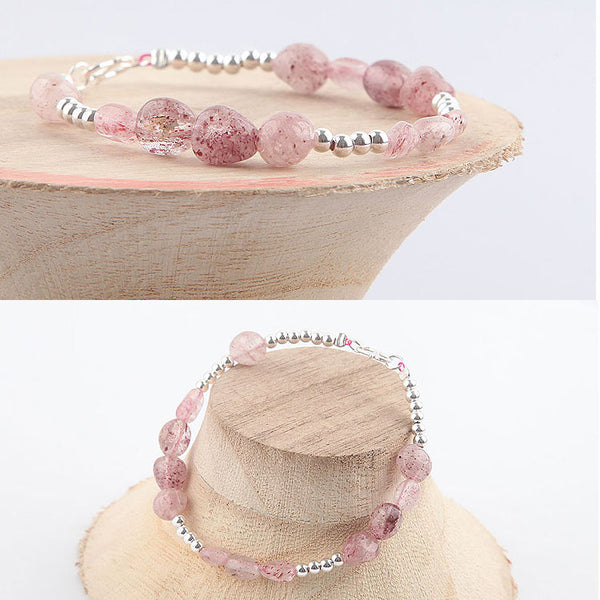 Strawberry Quartz Beaded Bracelets Handmade Gemstone Jewelry Accessories Gift Women gift
