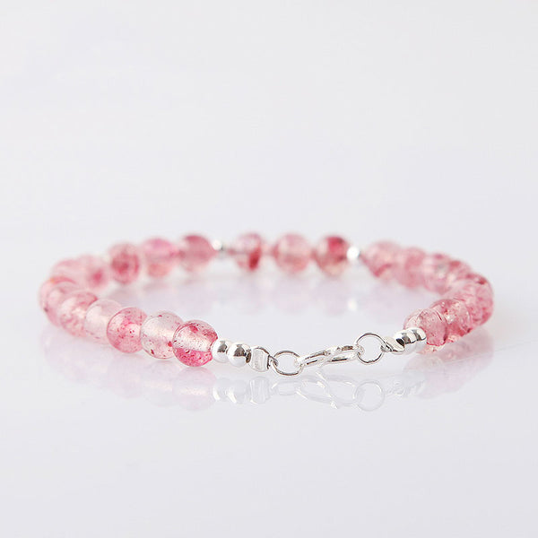 Strawberry Quartz Beaded Bracelets Handmade Jewelry Accessories Gift Women