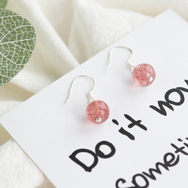 Strawberry Quartz Crystal Bead Drop Earrings Handmade Jewelry Accessories Women adorable