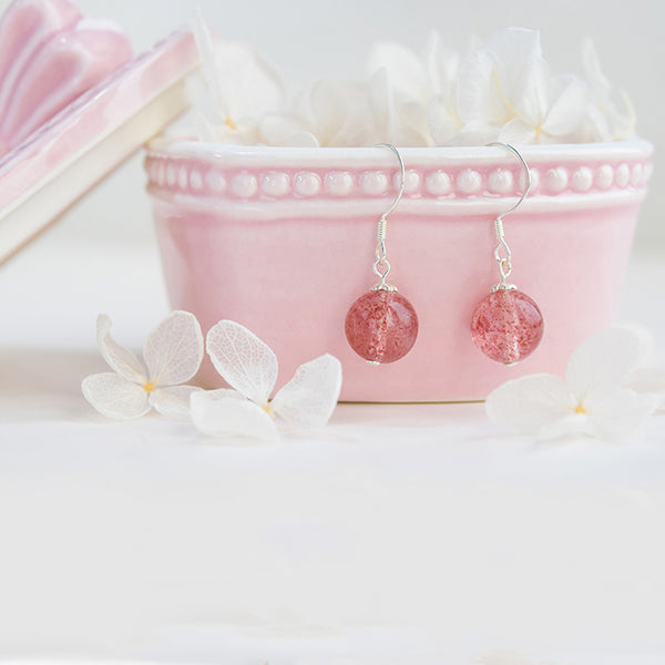 Strawberry Quartz Crystal Bead Drop Earrings Handmade Jewelry Accessories Women beautiful
