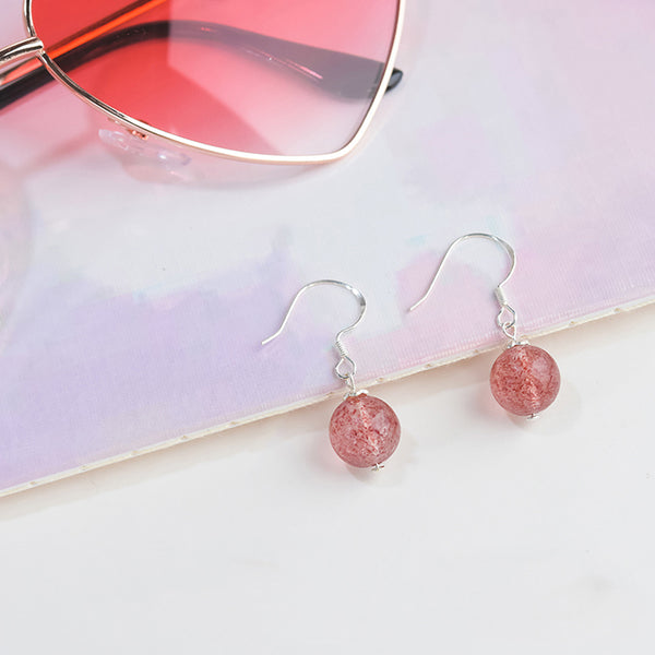 Strawberry Quartz Crystal Bead Drop Earrings Handmade Jewelry Accessories Women charming