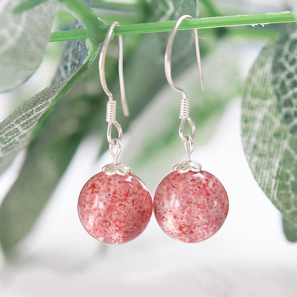 Strawberry Quartz Crystal Bead Drop Earrings Handmade Jewelry Accessories Women chic