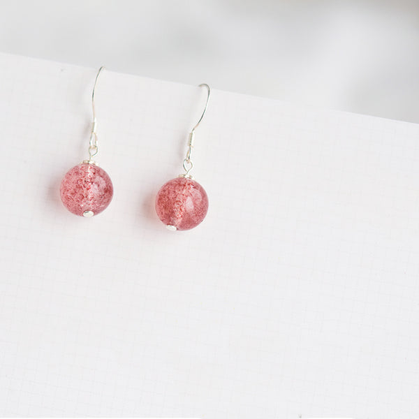 Strawberry Quartz Crystal Bead Drop Earrings Handmade Jewelry Accessories Women cute