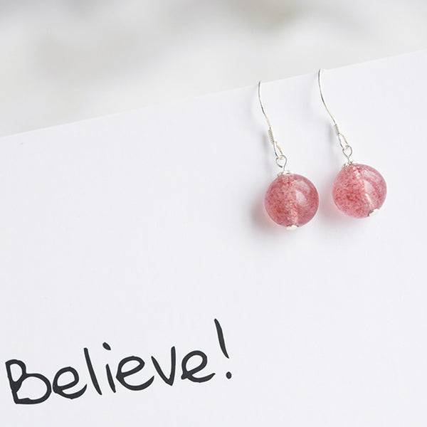 Strawberry Quartz Crystal Bead Drop Earrings Handmade Jewelry Accessories Women nice