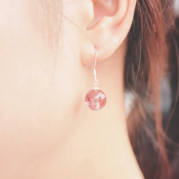 Strawberry Quartz Crystal Bead Drop Earrings Handmade Jewelry Accessories Women wear