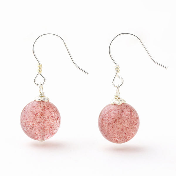 Strawberry Quartz Crystal Bead Drop Earrings Handmade Jewelry Accessories Women