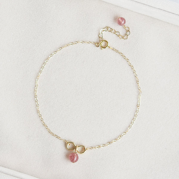 Strawberry Quartz Crystal Bead 14k Gold Plated Anklet Handmade Jewelry Accessories Women
