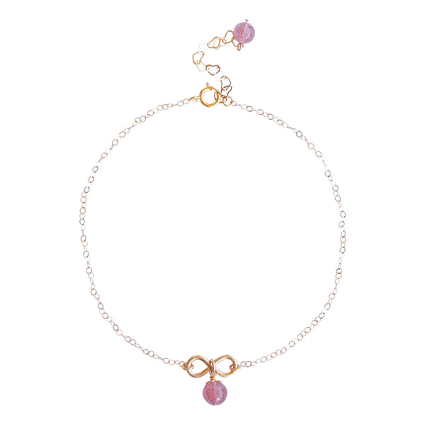 Strawberry Quartz Crystal Bead Gold Anklet Handmade Jewelry Accessories Women beautiful