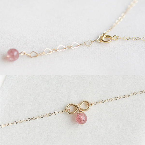 Strawberry Quartz Crystal Bead Gold Anklet Handmade Jewelry Accessories Women chic