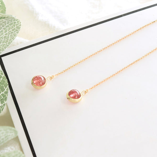 Strawberry Quartz Crystal Bead Gold Threader Earrings Handmade Jewelry Accessories Women adorable