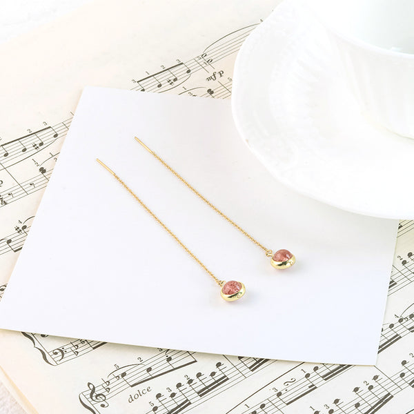 Strawberry Quartz Crystal Bead Gold Threader Earrings Handmade Jewelry Accessories Women beautiful