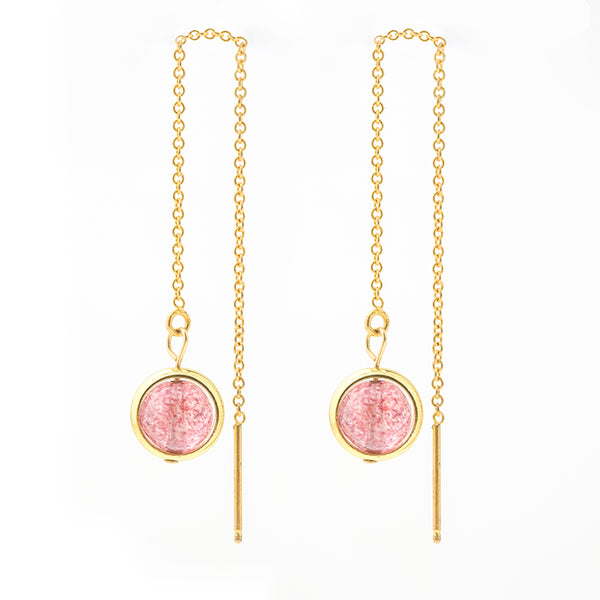 Strawberry Quartz Crystal Bead Gold Threader Earrings Handmade Jewelry Accessories Women cute