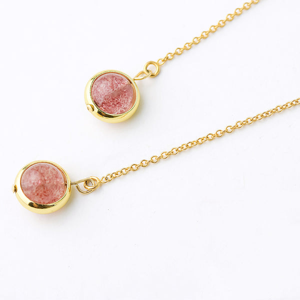 Strawberry Quartz Crystal Bead 14K Gold Gild Threader Earrings Handmade Jewelry Accessories Women