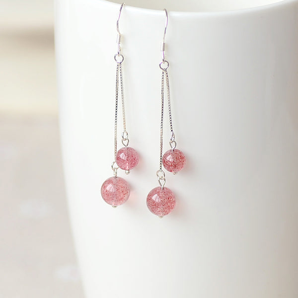 Strawberry Quartz Crystal Bead Sterling Silver Dangle Earrings Handmade Jewelry Accessories Women