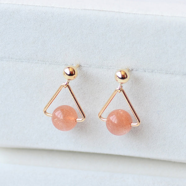 Strawberry Quartz Crystal Moonstone Bead Gold Stud Dangle Earrings Handmade Jewelry Accessories Women adorable