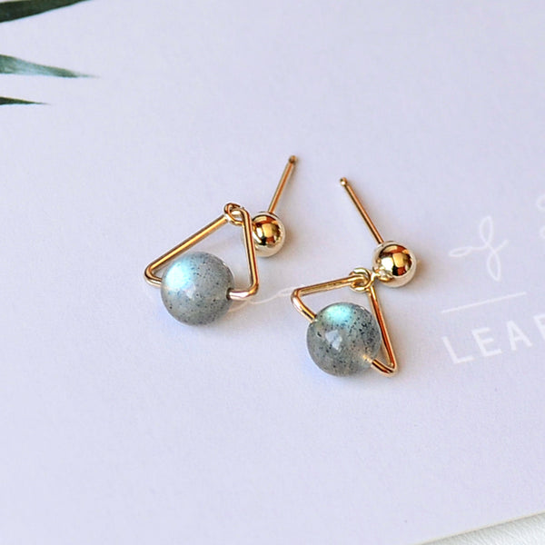 Strawberry Quartz Crystal Moonstone Bead Gold Stud Dangle Earrings Handmade Jewelry Accessories Women beautiful