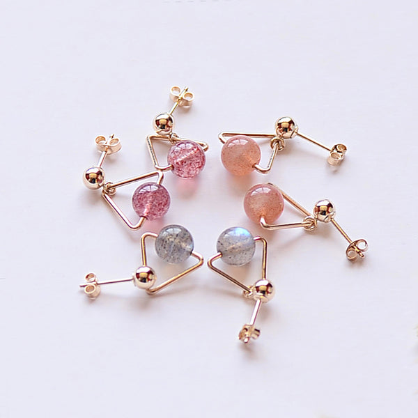 Strawberry Quartz Crystal Moonstone Bead Gold Stud Dangle Earrings Handmade Jewelry Accessories Women beautiful chic